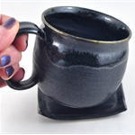 Coffee Mug and Coaster Set Ceramic Handmade Pottery Cup Black Fathers Day Gift