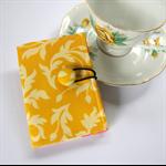 Tea Bag Wallet - Yellow Golden Swirls & martini dots on pink