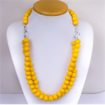 Necklace, Yellow 'Sunshine' Resin Beaded Necklace, medium length, 2 strand