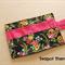 Black Floral Tea Wallet - Holds 4 Teas - flower pattern with pink pocket