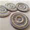 Crochet Coasters in Light Grey and Yellow Lemon - Set of 4