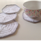 Crochet Coasters in White and Silver - Set of 4