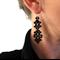 Hand woven black Swarovski earrings
