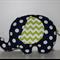 Large Elephant Softie - Navy Spot & Lime Chevron