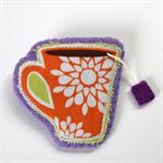 Teacup Brooch with purple teabag - Orange fabric cup on mauve lavender felt.