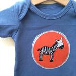 Size 0 Boys Appliqued Zebra onesie