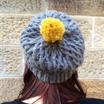 Charcoal Celtic Knit Beanie with Pom-Pom