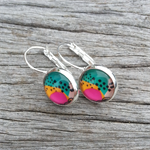 Glass dome hoop earrings - Watermelon