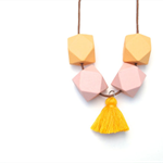 Pastel Orange & Pink Geometric Necklace with Tassel - Geo Necklace - Geometric W