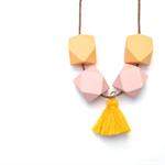 Pastel Orange & Pink Geometric Necklace with Tassel - Geo Necklace - Geometric W