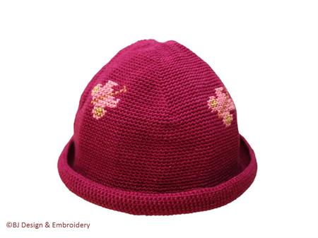 """Cotton Crochet Hat (6-12 months) """"Butterflies"""" >free shipping!"""