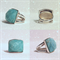 950 Sterling Silver Handmade Jewelry Ring with faceted Amazonite Gemstone Size 7