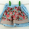 Size 5 Girl's Twirly Tea Party Apron Skirt Blue Vines with Elephants