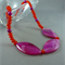 Hot Pink Agate and Orange Glass Necklace