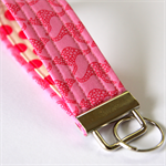 Wrist Key Fob - Hot Pink Kangaroos with polka dots.