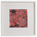 Red Waratahs Australian Wildflowers Hand-coloured Linocut Original Print