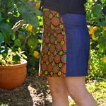A line 4 panel skirt with bias binding around the waist.