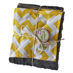 Stroller blanket - Yellow chevron with charcoal minky. Great baby shower gift!