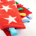 RED STARS  Baby Security Blanket Blankie Taggie Toy + Free Taggie /Dummy Saver