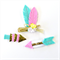 Feather and Arrow Clip Set - Aztec - Pink Spearmint Yellow Gold - Triangles
