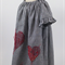 minicouture black gingham smock style dress with red cross stitch heart detail