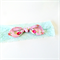 Lace Knot Bow Headband - Floral Pink Fabric - Mint Lace