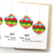 5 Christmas cards paper baubles merry and bright geometric print