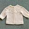 Free post. Pure wool baby jacket with circular lace yoke
