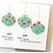 4 Christmas bird cards bauble turquoise birds teal bulk pack