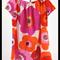 minicouture hot pink, white and orange seersucker peasant style dress.