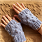 Bauble Fingerless Mittens in Soft Blue