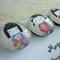 Round Glass Magnet Set - Japanese Dolls Kokeshi