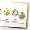 5 Christmas cards paper baubles poinsettia and holly