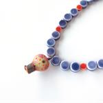 Up! Balloon purple and terracotta orange beaded necklace by Sasha + Max Studio