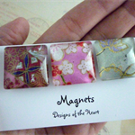 Square Glass Magnet Set - Japanese Paper Flowers