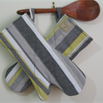 Eco friendly. Lime, Black and Greys Stripe Long Oven Gloves