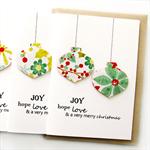 Christmas card baubles poinsettia and holly floral teacher handmade