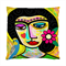 Art Frida with Flowers and Budgie Double Sided Art Cushion Cover