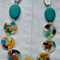 Statement Necklace - Teal and Multi-Coloured Resin Beads