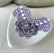 Purple porcelain heart ring dish, candle holder, ring holder. Ceramic.