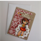 Christmas Card - Girl with present - Traditional Red and White