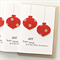4 Christmas cards baubles kraft and red spots