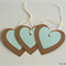 Large Kraft & Mint Heart Gift Tags - Set of 3