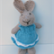 Katie the Knitted Bunny Rabbit Toy with lovely Blue Party