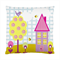 Cute House with Tree, Bird & Bumble Bees Art Cushion Cover
