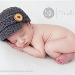 Classic Newsboy Cap / Newborn Photography Prop / Wooden Buttons / Grey