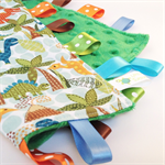 DINOSAURS  Baby Security Blanket Blankie Taggie Toy + FREE Taggie Saver