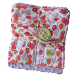 Stroller blanket - Balloons with lavender minky READY TO SEND