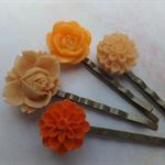 Orange Delight Vintage Style Hair Clips-4 hair clips