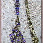 Peacock gem & beaded bookmark